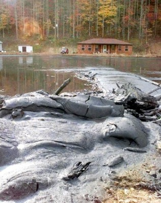 250 million gallons of coal sludge released into Big Sandy Creek block access to a home in Martin County, KY.