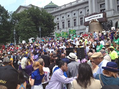 Rally in Harrisburg, PA against voter ID laws