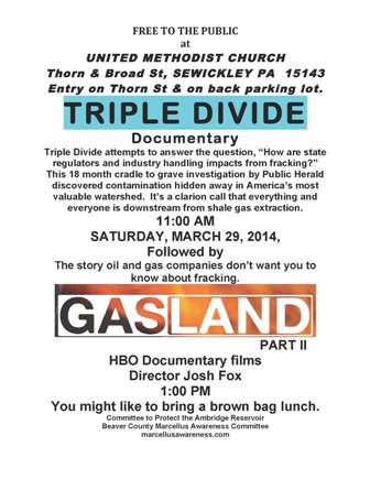 Triple Divide Gasland PDF 2 flyer Sewickley