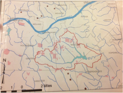 This topical map shows the Service Creek watershed in red and the Ambridge reservoir in blue.