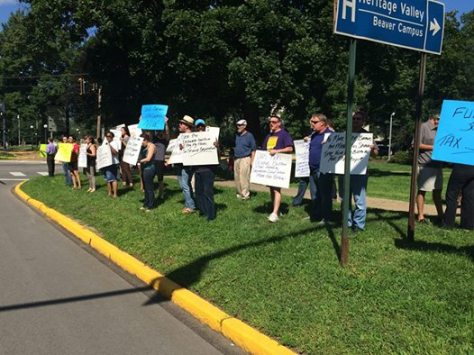 Progressive Democrats and Union members rally for taxing drillers and funding schools in Beaver, PA on 7/20/15