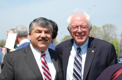 AFL-CIO Pres. Richard Trumka with Sen. Bernie Sanders